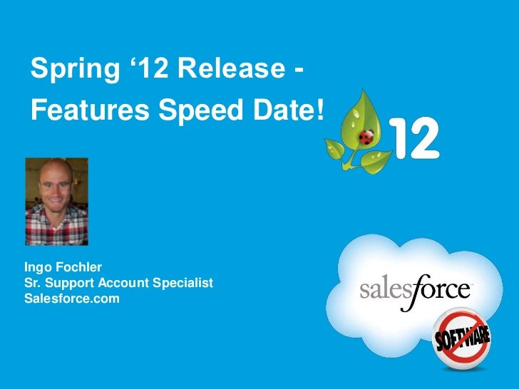 Spring '12 Release -Features Speed Date!Ingo FochlerSr. Support Account SpecialistSalesforce.com
