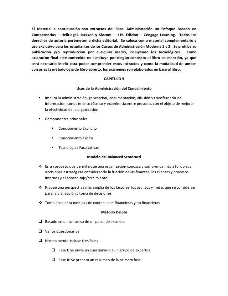 El Material a continuación son extractos del libro: Administración un Enfoque Basado enCompetencias – Hellriegel, Jackson ...