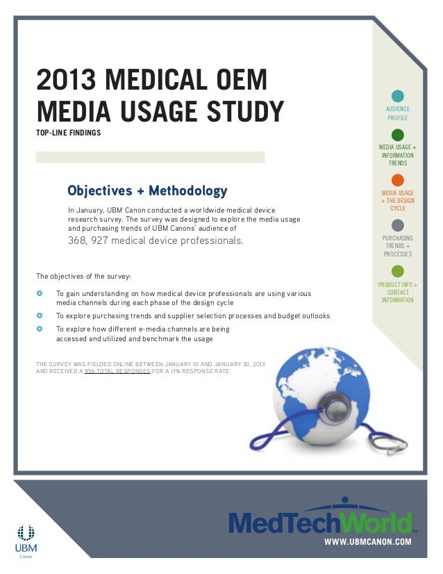 2013 Medical OEM Media Usage StudyTop-Line Findings In January, UBM Canon conducted a worldwide medical device research su...