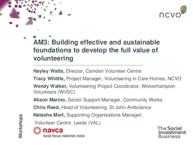 AM3: Building effective and sustainable foundations to develop the full value of volunteering Hayley Watts, Director, Camd...