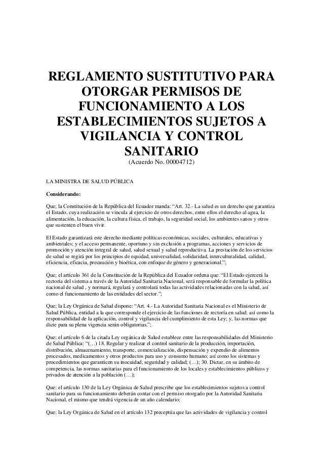 REGLAMENTO SUSTITUTIVO PARA OTORGAR PERMISOS DE FUNCIONAMIENTO A LOS ESTABLECIMIENTOS SUJETOS A VIGILANCIA Y CONTROL SANIT...
