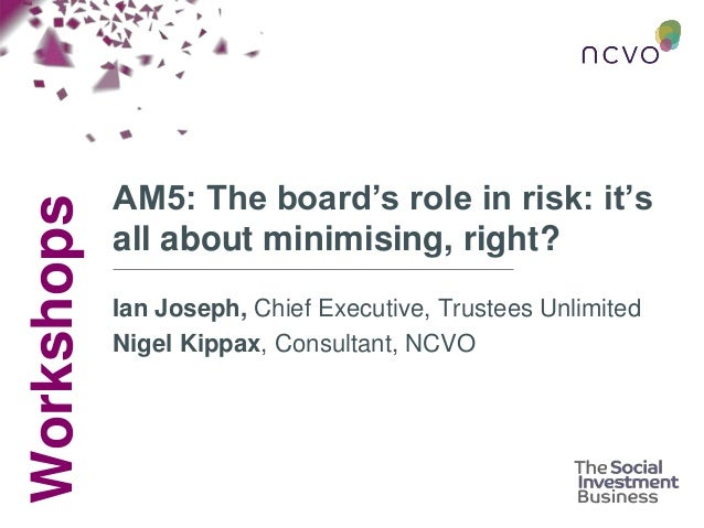 Workshops AM5: The board's role in risk: it's all about minimising, right? Ian Joseph, Chief Executive, Trustees Unlimited...
