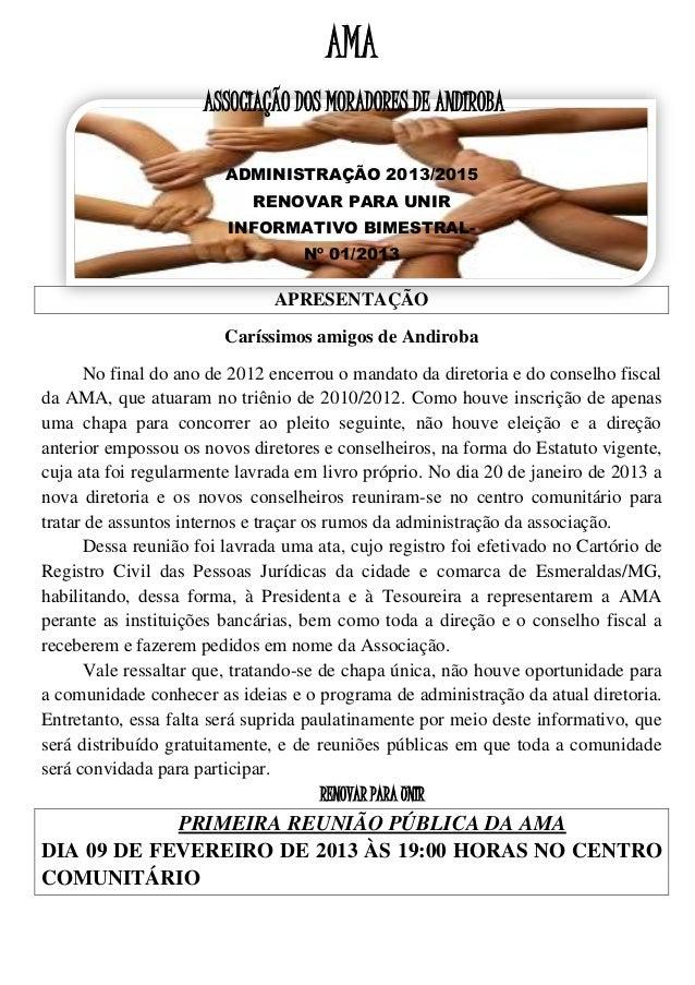 AMA                     ASSOCIAÇÃO DOS MORADORES DE ANDIROBA                                         -                    ...