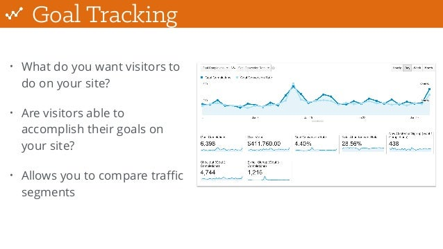 Goal Tracking • What do you want visitors to do on your site? • Are visitors able to accomplish their goals on your site? ...