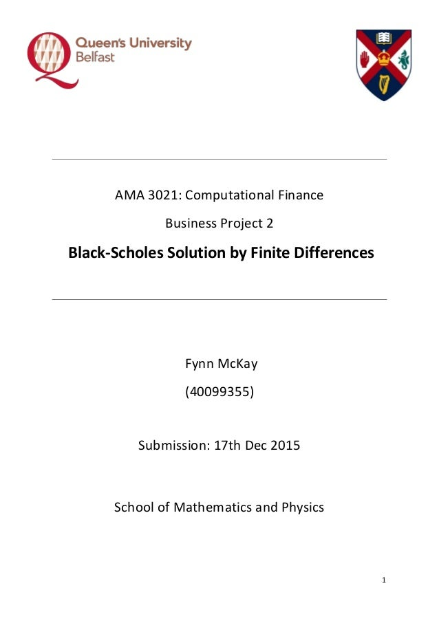 Solution to Black-Scholes P D E  via Finite Difference Methods (MatLa…