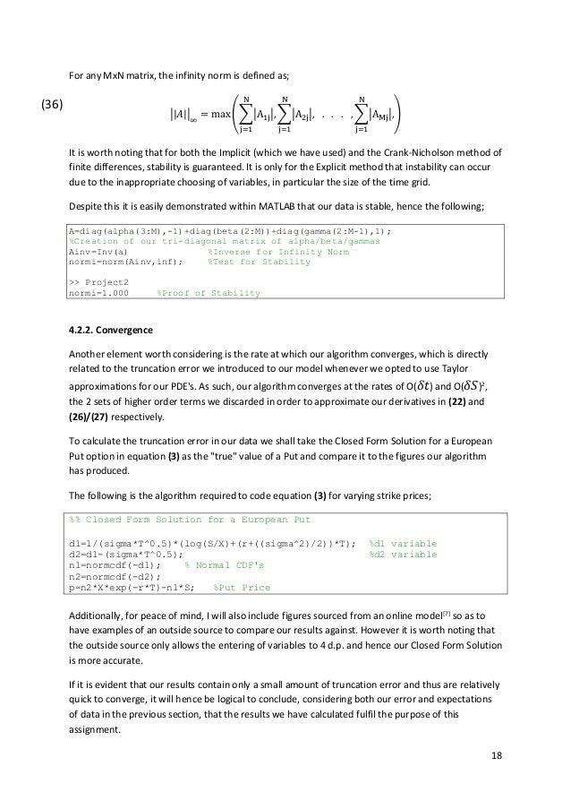 Solution to Black-Scholes P D E  via Finite Difference Methods (MatLa…