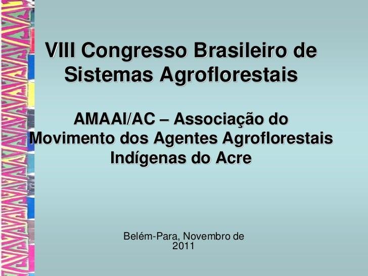 VIII Congresso Brasileiro de   Sistemas Agroflorestais    AMAAI/AC – Associação doMovimento dos Agentes Agroflorestais    ...