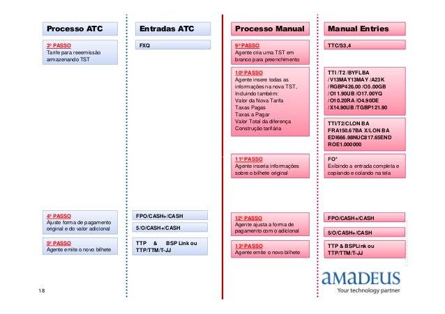 Processo ATC Entradas ATC Processo Manual Manual Entries FXQ3º PASSO Tarife para reeemissão armazenando TST 9º PASSO Agent...