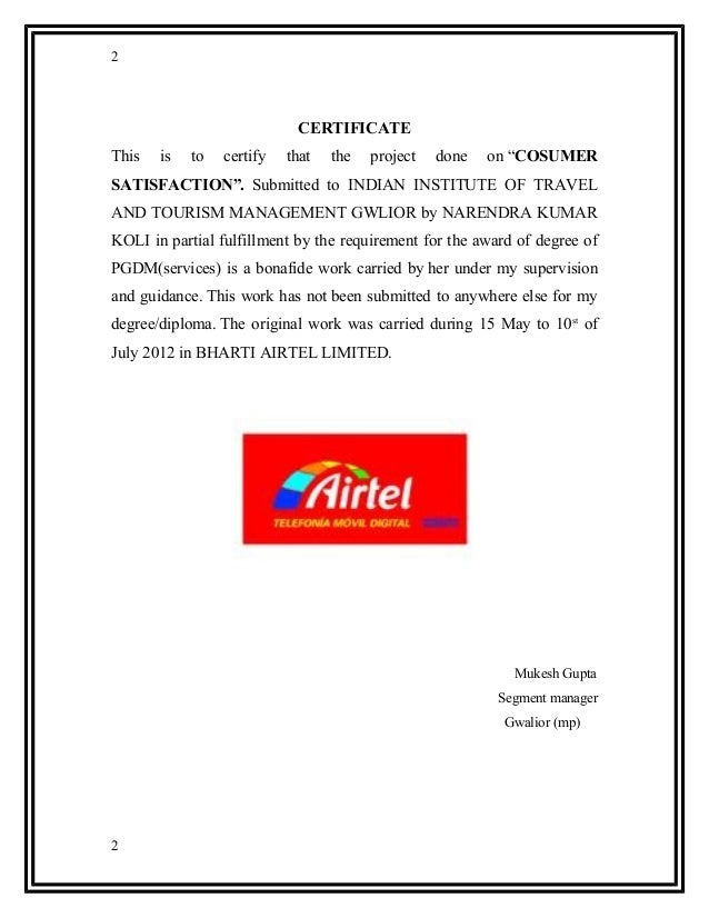 """project report on airtel The internship report on """"hr policies facilitating the human assets of airtel bangladesh limited"""" this report is the reflection this is the project."""