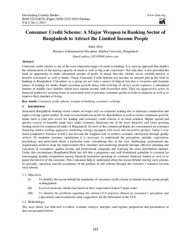 Developing Country Studies www.iiste.orgISSN 2224-607X (Paper) ISSN 2225-0565 (Online)Vol.3, No.3, 2013185Consumer Credit ...