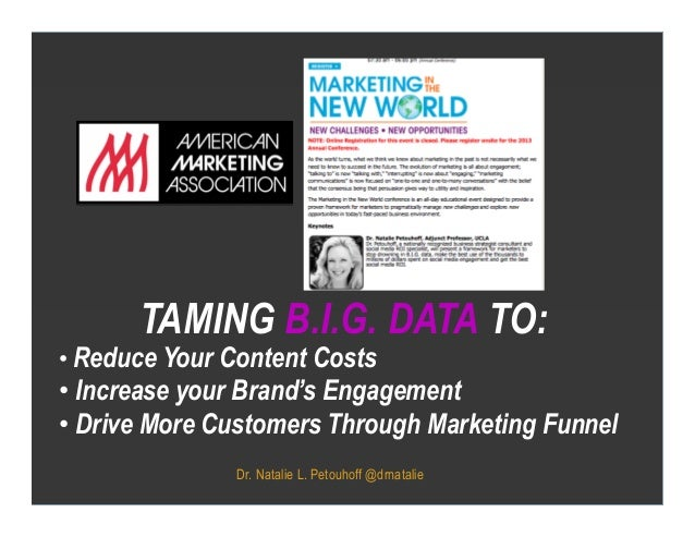 Dr. Natalie L. Petouhoff @drnatalieTAMING B.I.G. DATA TO:X•Reduce Your Content Costs•Increase your Brand's Engagement•D...