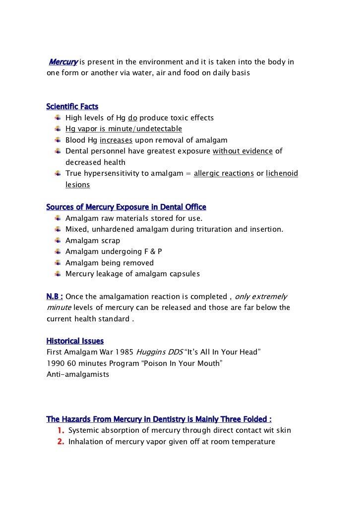 Amalgam Safety Mercury Hazards 3rd Year 1 2012