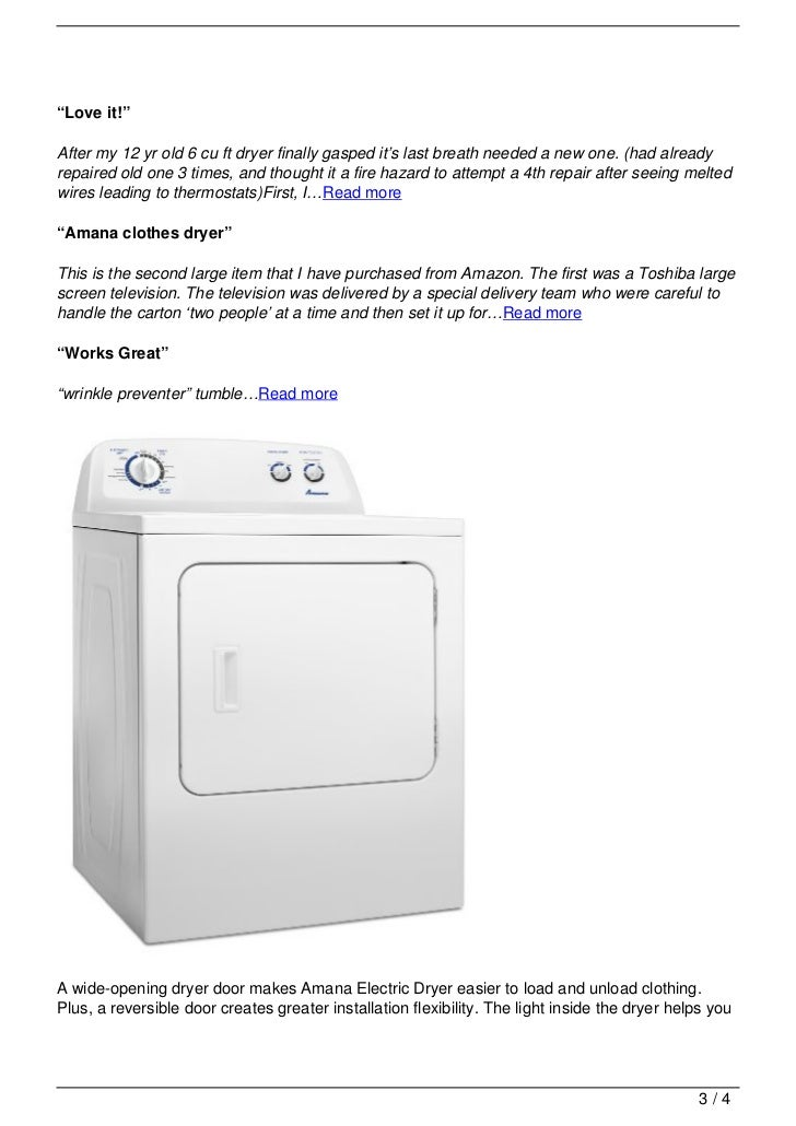 Amana Electric Dryer Traditional With Interior Drum Light