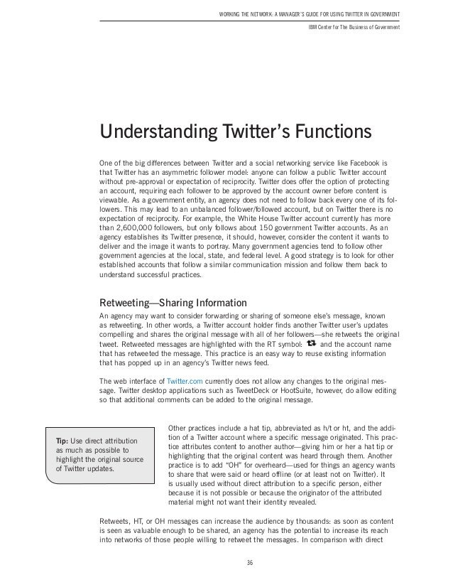 a manager s guide for using twitter in government  twitter features 36