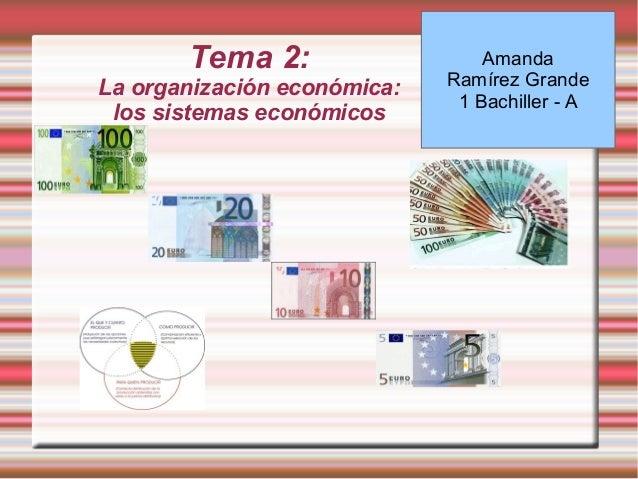 Tema 2: La organización económica: los sistemas económicos Amanda Ramírez Grande 1 Bachiller - A