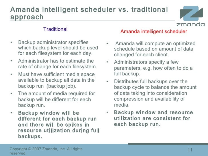 Amanda intelligent scheduler vs. traditional approach <ul><li>Backup administrator specifies which backup level should be ...