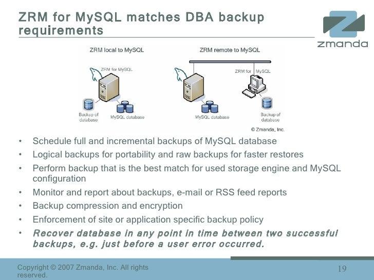 ZRM for MySQL matches DBA backup requirements <ul><li>Schedule full and incremental backups of MySQL database  </li></ul><...