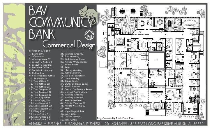 BAY 37 COMMUNiTY 35 38 31 32 30 36 BANK 29 Commercial Design 34 33 26 28 39  25 41 40 FLOOR PLAN KEY: 1. South Entry 26.