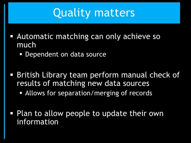 Ultimate aim High-quality set of unique identifiers for UK  researchers and research institutions Available to other sys...