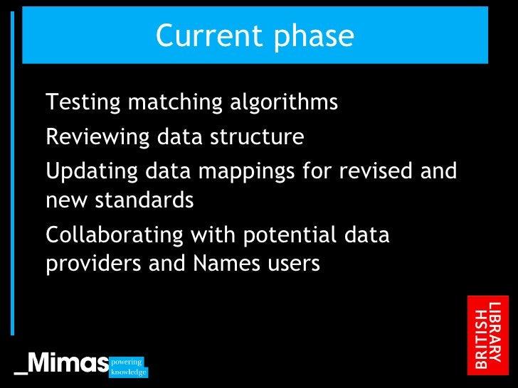 Current phase <ul><li>Testing matching algorithms </li></ul><ul><li>Reviewing data structure </li></ul><ul><li>Updating da...