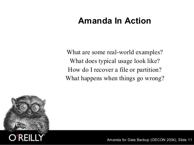 Amanda for Data Backup (OSCON 2004), Slide 11 Amanda In Action What are some real-world examples? What does typical usage ...