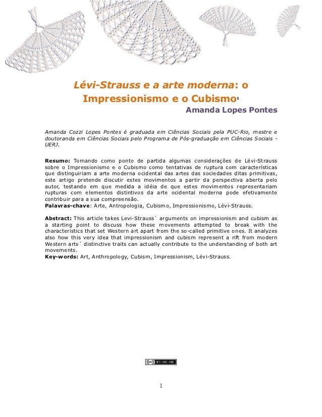 Lévi-Strauss e a arte moderna: o Impressionismo e o Cubismo, Amanda Cozzi Lopes Pontes                                    ...