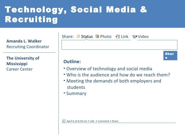 Technology, Social Media &Recruiting                         Share:        Status         Photo              Link   VideoA...