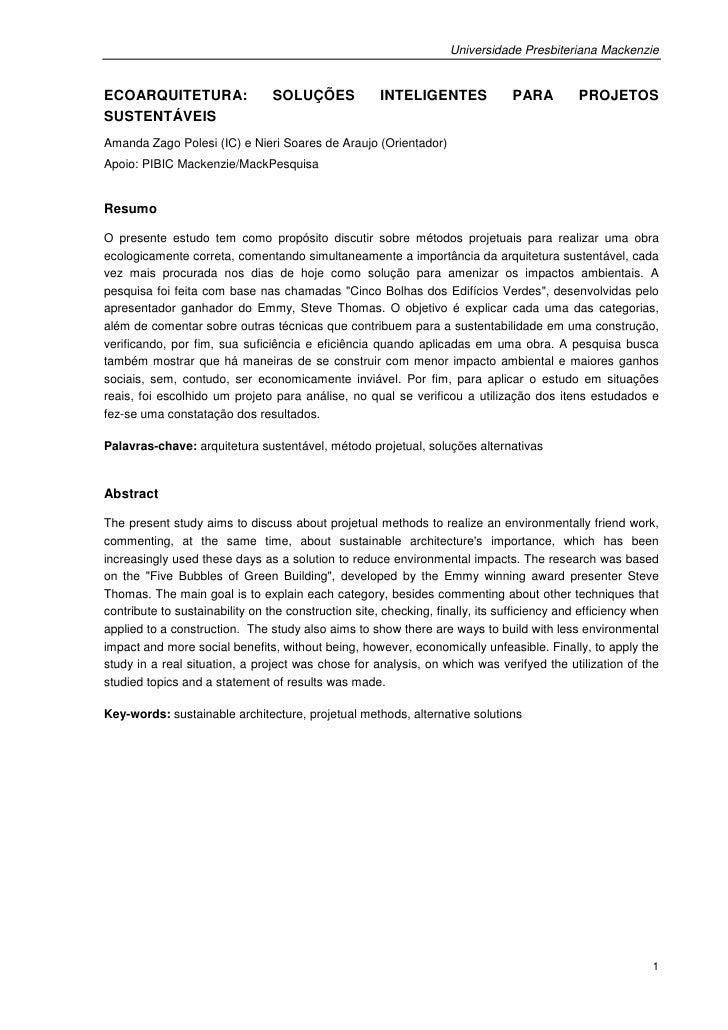 Universidade Presbiteriana MackenzieECOARQUITETURA:                  SOLUÇÕES             INTELIGENTES              PARA  ...