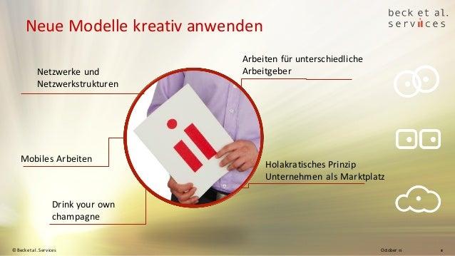 October 15© Beck et al. Services 11 Neue Modelle kreativ anwenden Drink your own champagne Arbeiten für unterschiedliche A...