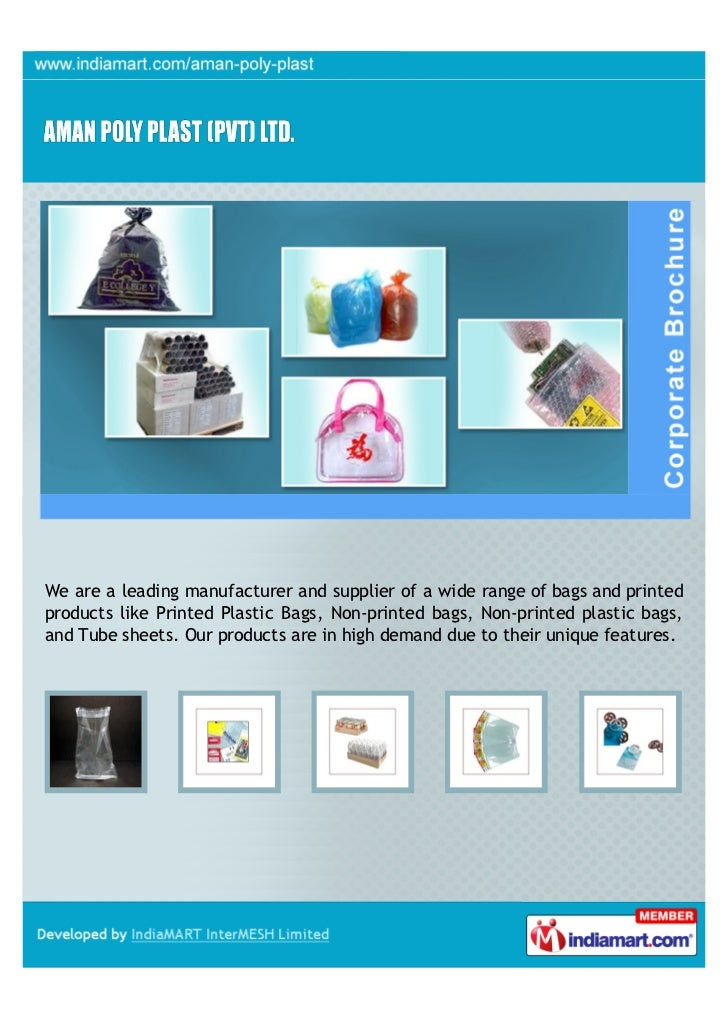 We are a leading manufacturer and supplier of a wide range of bags and printedproducts like Printed Plastic Bags, Non-prin...