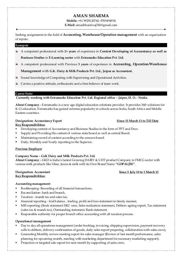 AMAN SHARMA Mobile: +91 9929120760, 9785494934 E-Mail: amanbhardwaj760@gmail.com[ [ Seeking assignments in the field of Ac...