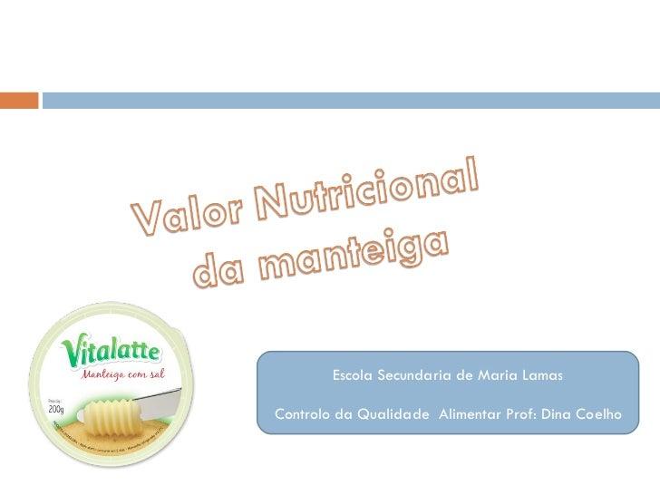 Escola Secundaria de Maria Lamas Controlo da Qualidade  Alimentar Prof: Dina Coelho