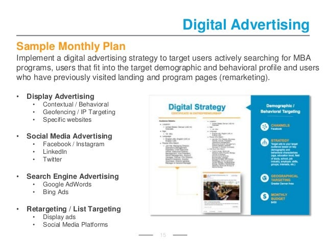 Sample Monthly Plan Implement a digital advertising strategy to target users actively searching for MBA programs, users th...
