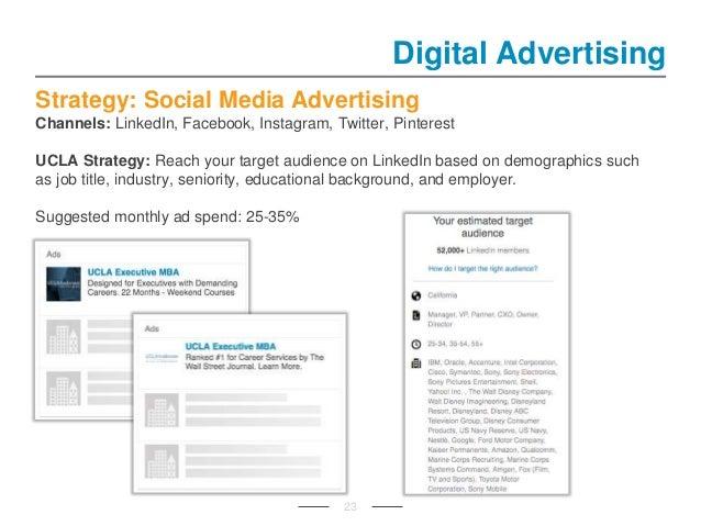 Strategy: Social Media Advertising Channels: LinkedIn, Facebook, Instagram, Twitter, Pinterest UCLA Strategy: Reach your t...