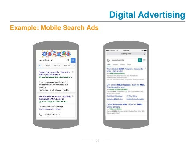 Example: Mobile Search Ads Digital Advertising 26