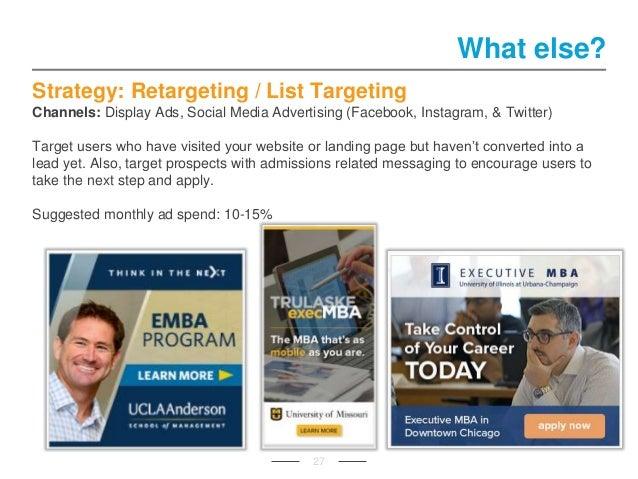 Strategy: Retargeting / List Targeting Channels: Display Ads, Social Media Advertising (Facebook, Instagram, & Twitter) Ta...