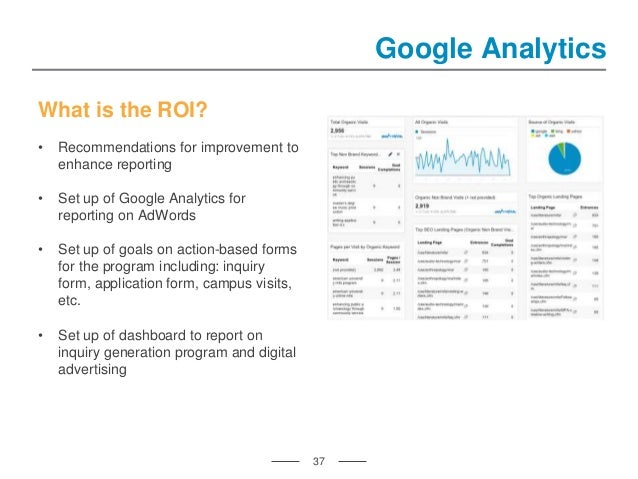 37 Google Analytics What is the ROI? • Recommendations for improvement to enhance reporting • Set up of Google Analytics f...