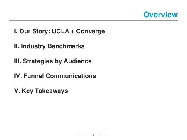 Overview 6 I. Our Story: UCLA + Converge II. Industry Benchmarks III. Strategies by Audience IV. Funnel Communications V. ...