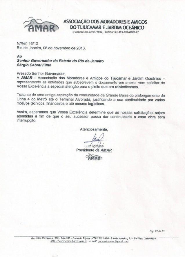 AMAR - Carta Pres. N/Ref. 16-13 - Ao Governador - Abaixo-assinado das entidades representativa - Metrô até Terminal Alvorada