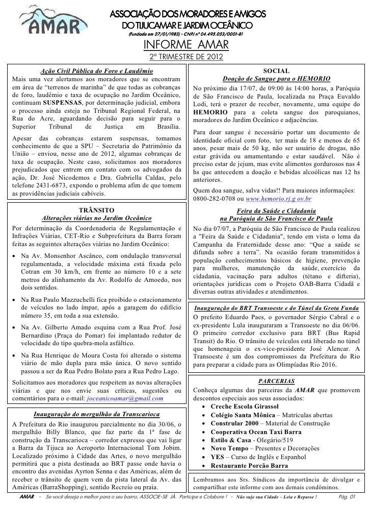 ASSOCIAÇÃO DOS MORADORES E AMIGOS                                           DO TIJUCAMAR E JARDIM OCEÂNICO                ...