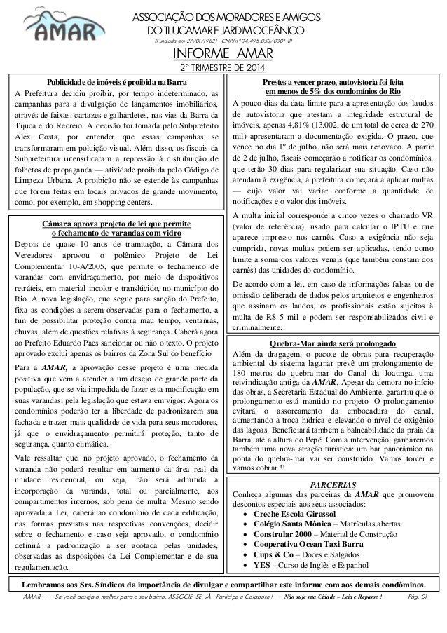 ASSOCIAÇÃODOSMORADORESEAMIGOS DOTIJUCAMAREJARDIMOCEÂNICO (Fundada em 27/01/1983) - CNPJ nº 04.495.053/0001-81 INFORME AMAR...