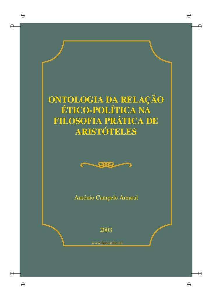 i                                ii                                        i        ONTOLOGIA DA RELAÇÃO           ÉTICO-P...