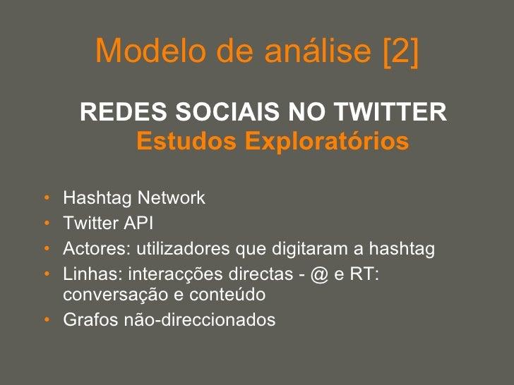 Modelo de análise [2] <ul><li>REDES SOCIAIS NO TWITTER Estudos Exploratórios </li></ul><ul><li>Hashtag Network  </li></ul>...