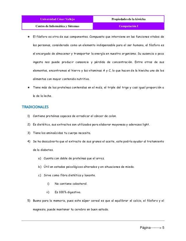Universidad César Vallejo Propiedades de la kiwicha Centro de Informática y Sistemas Computación I Página--------> 5 ★ El ...