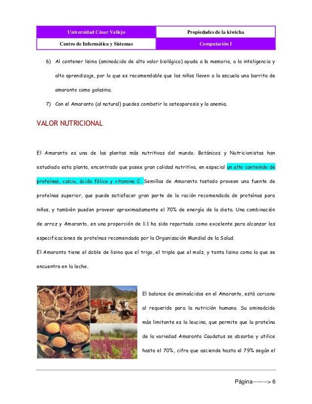 Universidad César Vallejo Propiedades de la kiwicha Centro de Informática y Sistemas Computación I Página--------> 6 6) Al...