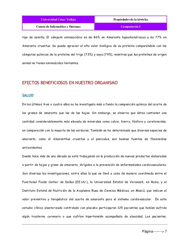 Universidad César Vallejo Propiedades de la kiwicha Centro de Informática y Sistemas Computación I Página--------> 7 tipo ...