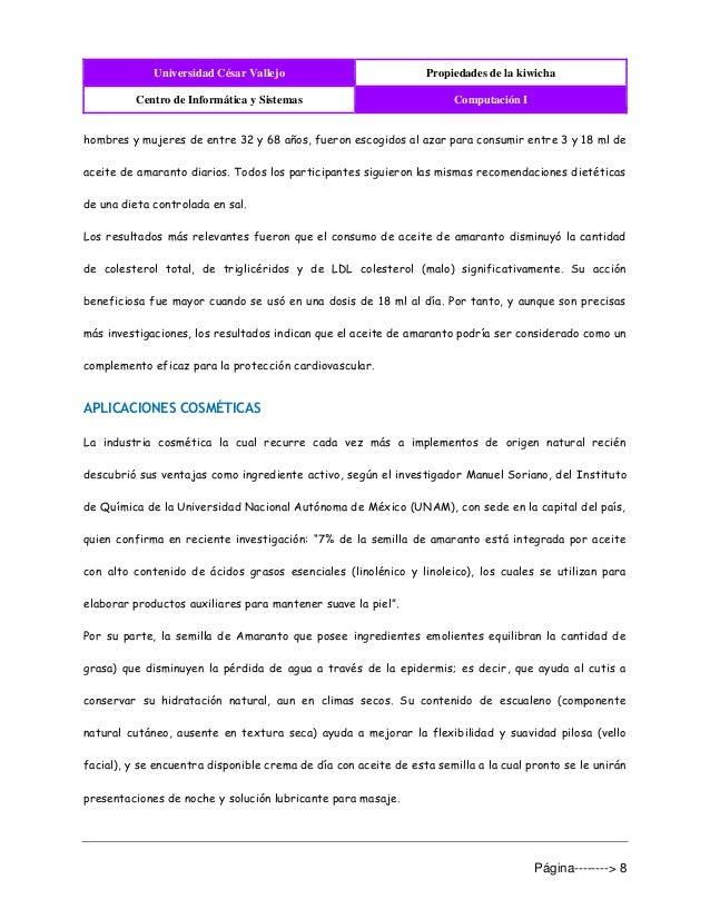 Universidad César Vallejo Propiedades de la kiwicha Centro de Informática y Sistemas Computación I Página--------> 8 hombr...