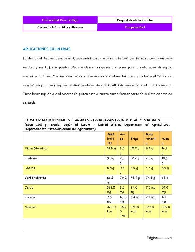 Universidad César Vallejo Propiedades de la kiwicha Centro de Informática y Sistemas Computación I Página--------> 9 APLIC...