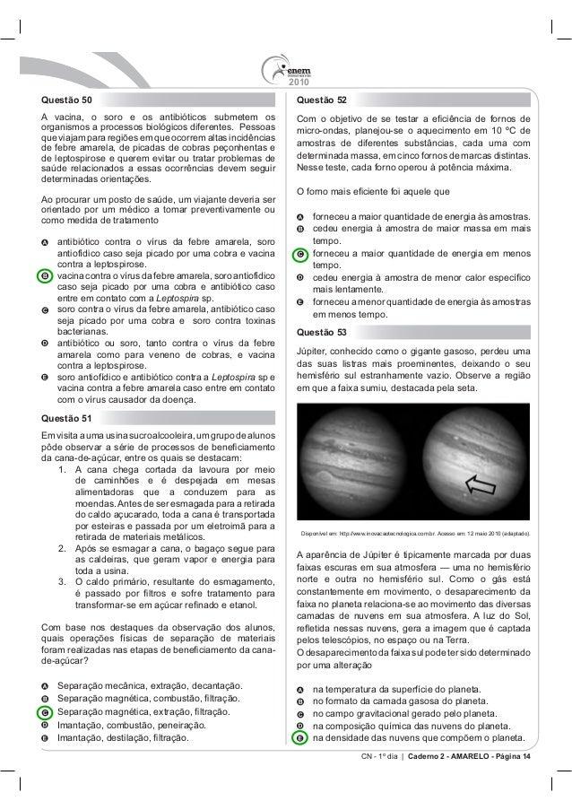 2010 CN - 1º dia | Caderno 2 - AMARELO - Página 14 Questão 50 orientado por um médico a tomar preventivamente ou como medi...