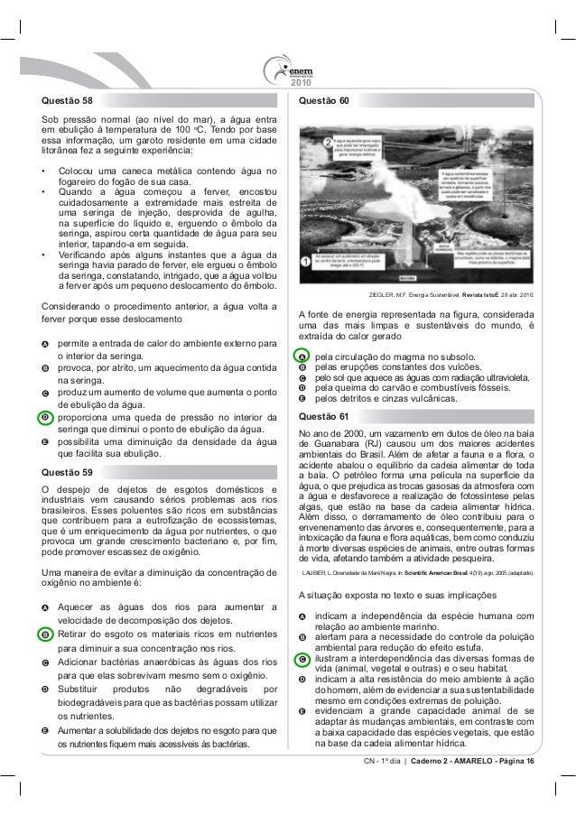 2010 CN - 1º dia | Caderno 2 - AMARELO - Página 16 Questão 58 Sob pr o seringa, aspirou certa quantidade de água para seu ...